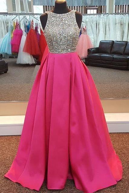 pink prom dress,satin evening gowns,long prom dresses 2017,crystal beaded dress