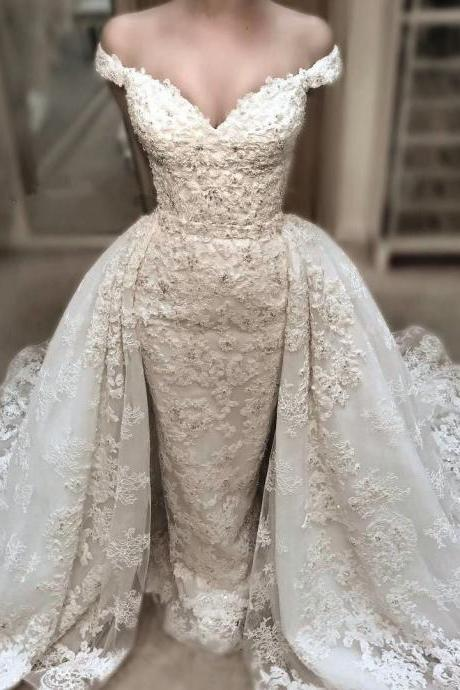 Vintage Wedding Dress,Lace Wedding Gowns,Mermaid Wedding Dresses 2017 With Detachable Skirts
