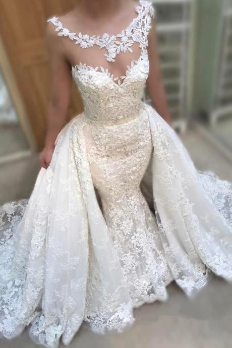 vintage wedding gowns,lace mermaid wedding dress 2017,detachable train dresses