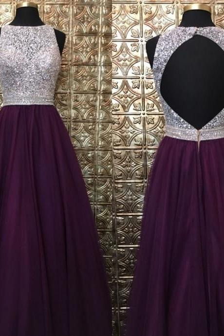Grape Prom Dress,Long Tulle Prom Dresses,Beaded Prom Dress With Keyhole Back