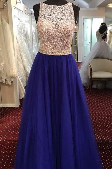cap sleeves prom dress,open back evening dress,tulle evening dress,long formal dress,prom dresses with sequins and beaded