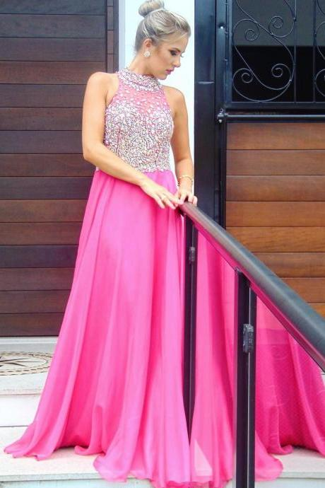 pink prom dress,halter prom dress,crystal beaded dress,chiffon prom dress,long evening dress