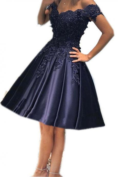 navy blue homecoming dresses,off shoulder prom short dress,lace appliques homecoming dresses,elegant cocktail dresses