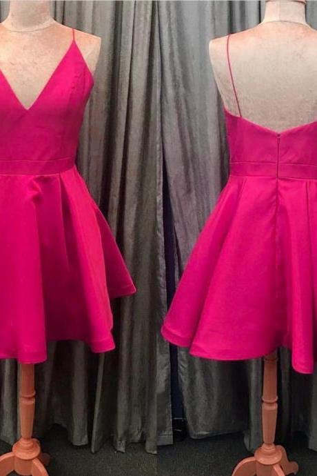 pink homecoming dress, v neck party dress,short prom dresses 2017,graduation dress,cocktail dress,satin dresses