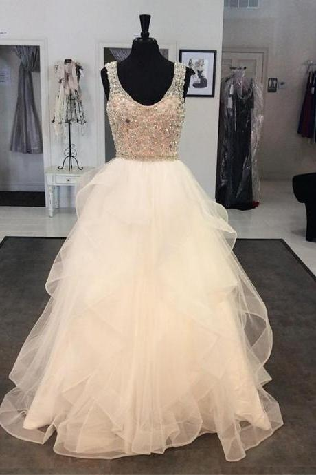 white prom dress,crystal beaded prom dress,ball gowns prom dress,prom dresses 2017