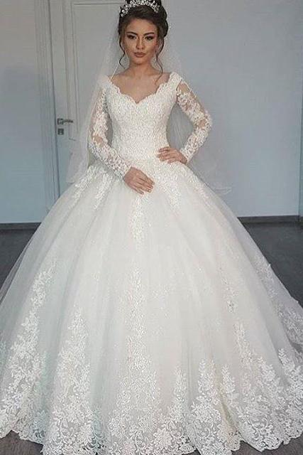 v neck wedding dress,ball gowns wedding dress,lace wedding dress,vintage wedding dress,wedding gowns 2017