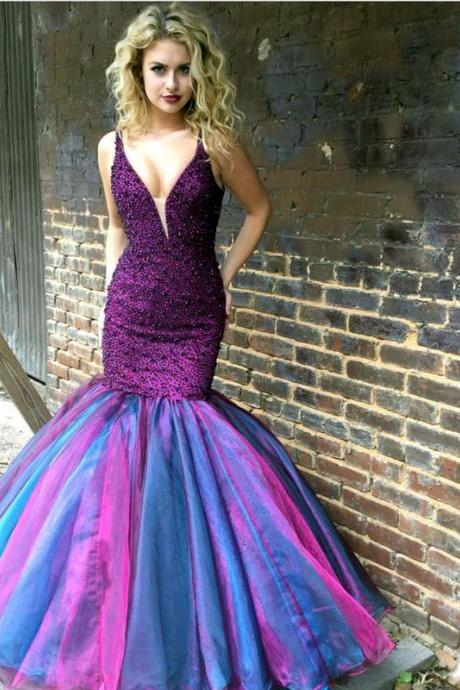 Mermaid Prom Dress,Mermaid Evening Gowns,Sexy Prom Dress 2017,Ombre Prom Dresses