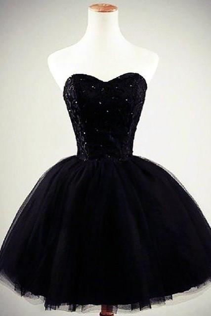 Black Homecoming Dress,Short Prom Dress,Ball Gowns,Black Party Dress,Sweetheart Prom Dress,Black Cocktail Dresses