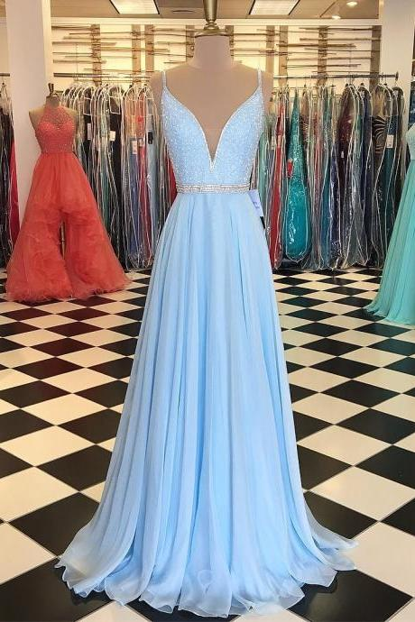 baby blue prom dress,chiffon prom dress, long evening gowns,beading dress,sexy prom dresses 2017