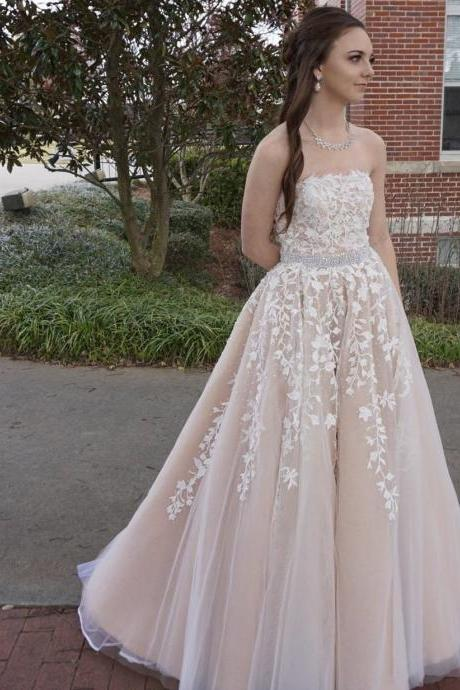strapless prom dress,champagne ball gowns,ball gowns prom dresses,lace evening dresses