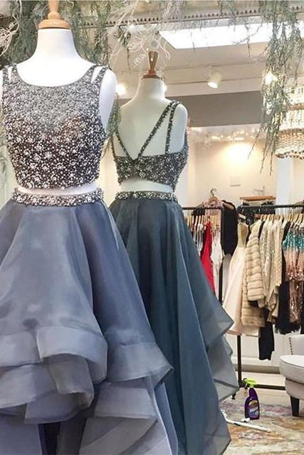 Silver Prom Dress,Crystal Beaded Party Dress,Ruffles Prom Dress,Prom Dresses 2017,Ball Gowns Prom Dress