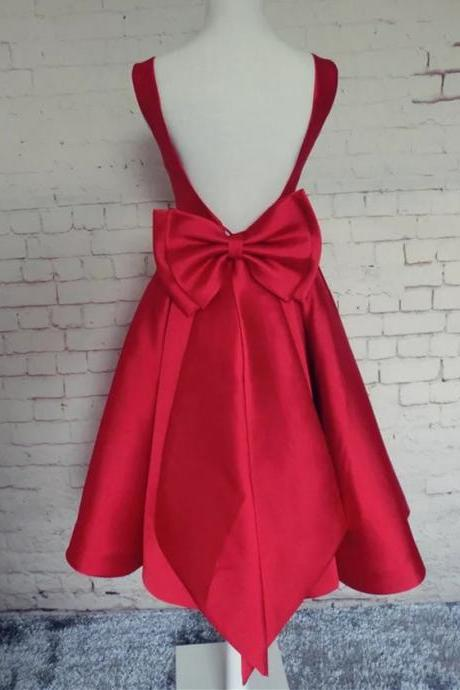 bow back party dress,burgundy homecoming dress,short evening dress,open back prom dresses,satin dress