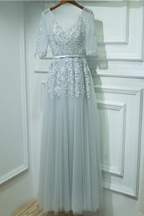 v neck dress,lace appliques evening dress,long prom dresses,tulle bridesmaid dress,half sleeves dresses
