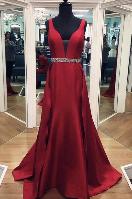 v neck prom gowns,burgundy evening dresses,mermaid prom dress,mermaid evening dresses