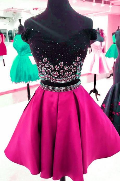 black top dress,beaded dress,two piece homecoming dress,short prom dresses 2017