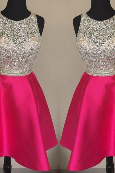 jewelry neck dress,sequins beaded homecoming dress,short prom dresses 2017,pink homecoming dress