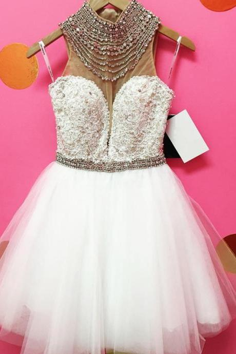white homecoming dress,short prom dress 2017,halter homecoming dress,tulle dress,beaded gowns,short cocktail dresses