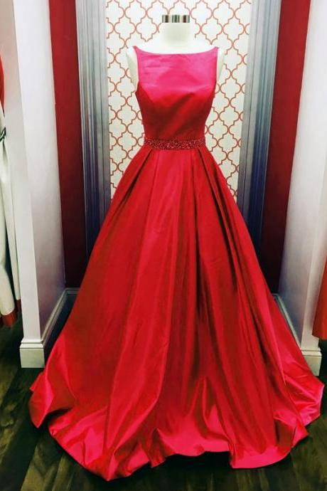 red ball gowns,scoop neck prom dress,simple dress,prom gowns 2017,elegant prom dress,puffy dress