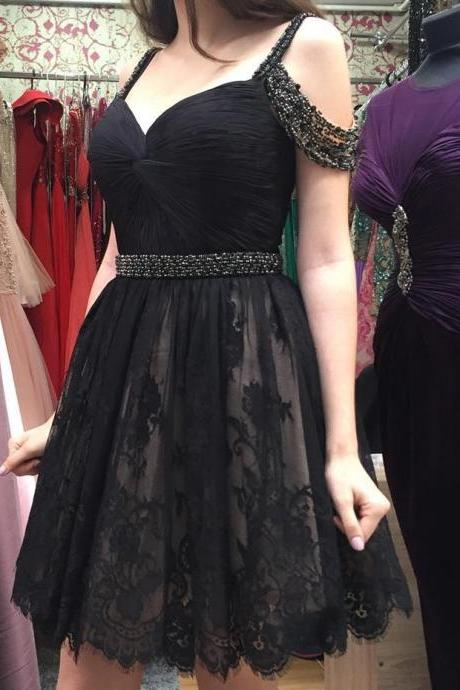 black homecoming dresses,short prom dress,elegant homecoming dress,lace homecoming dresses