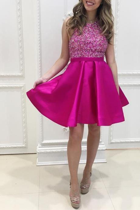 pink homecoming dress,sequins beaded dress,short prom dress,sparkly cocktail dress,homecoming dresses 2017