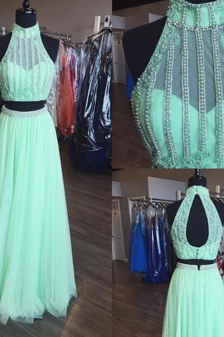 mint green prom dress,two piece prom dress tulle formal dresses,2 piece prom dress,sexy prom dresses 2017