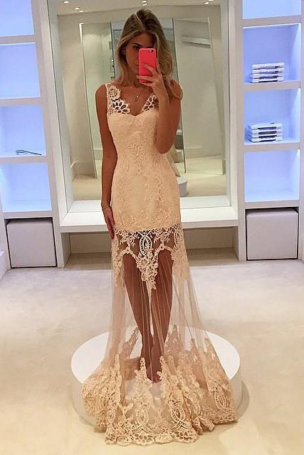 lace prom dress,v neck prom dress,see through prom dress,champagne evening dress,elegant bridesmaid dresses
