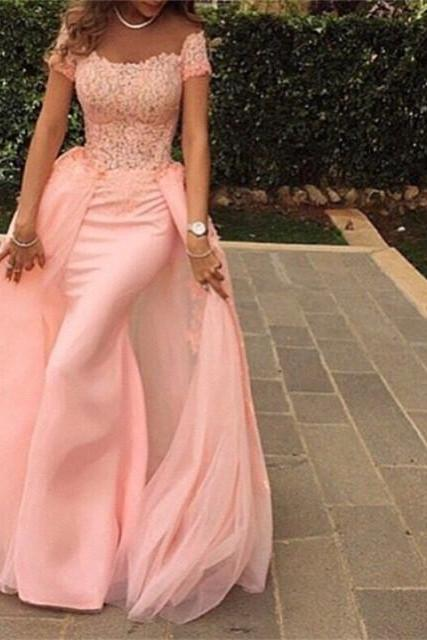 pink mermaid dress,removable train prom dress,elegant evening dress,sexy long formal dress
