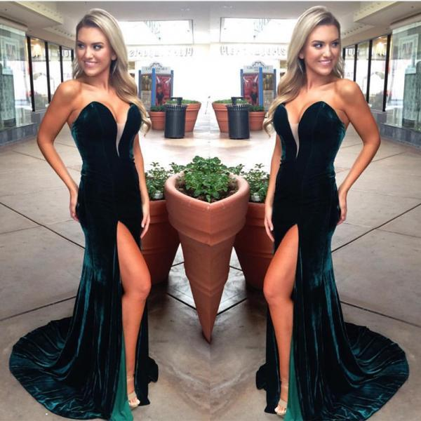 Emerald Green Evening Gowns,Mermaid Prom Dress,Velvet Prom Dress,Prom Gowns 2017