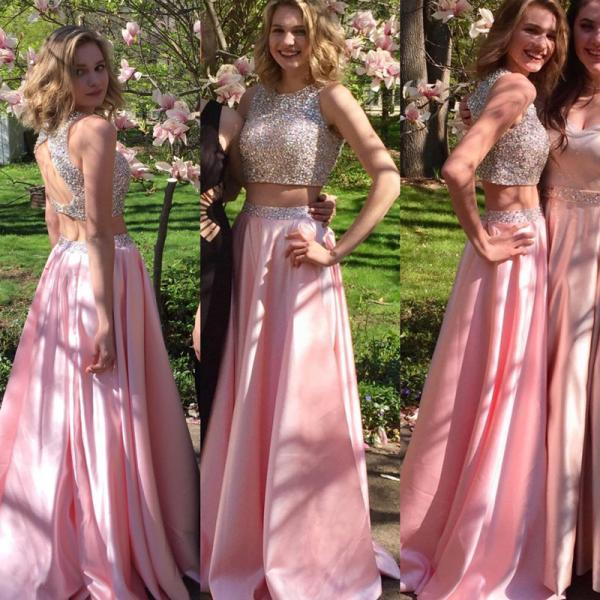 pink prom dress,two piece prom dress,sequins beaded dress,keyhole back dress,long prom dress