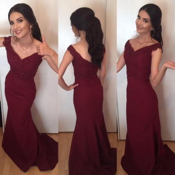 Burgundy Prom Dress,Mermaid Prom Dress,Mermaid Evening Gowns,Elegant Formal Dress