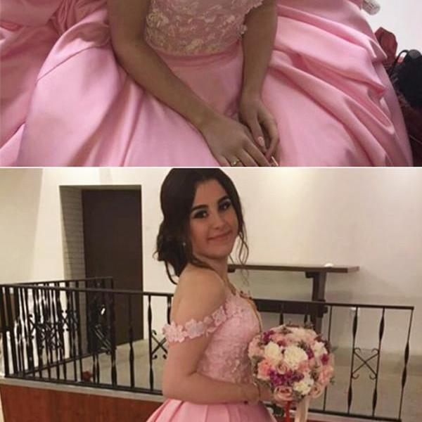 pink ball gowns,off the shoulder prom dress,prom dresses 2019,ball gowns quinceanera dresses