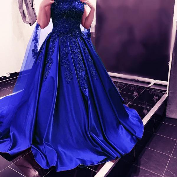 Royal Blue Ball Gowns,Satin Prom Gowns ,Lace Appliques Prom Dresses,Royal Blue Wedding Dress