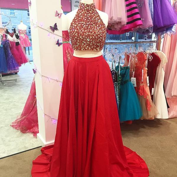 9821686c89d Gorgeous Pearl Beaded Red Chiffon Long Prom Dress 2016