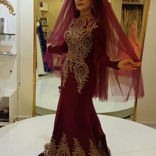 Muslim Evening Dresses,Arabic Prom Dresses,Long Sleeves Evening Gowns,Long Sleeves Prom Dress