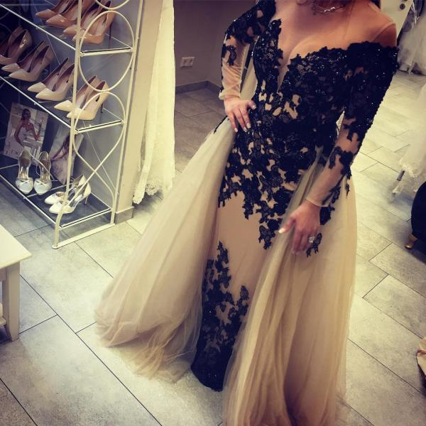 black lace appliques long sleeves mermaid evening dresses 2017 elegant prom gowns