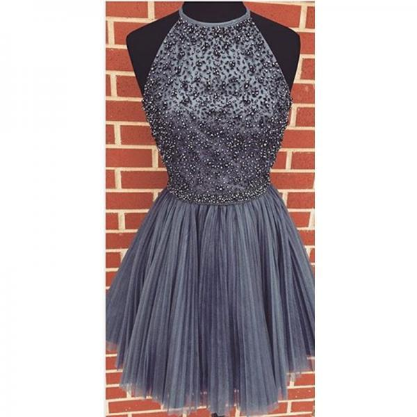 halter homecoming dress,tulle homecoming dress,short prom dresses 2017,silver homecoming dress