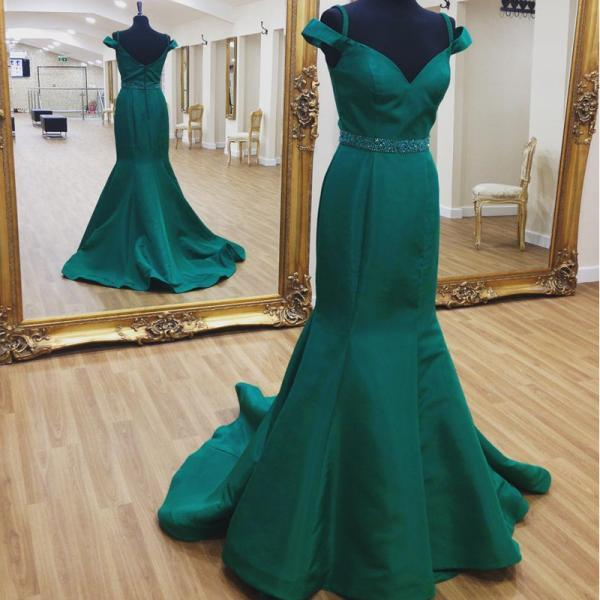 Cold-Shoulder Beaded Satin Mermaid Long Prom Dress, Evening Dress