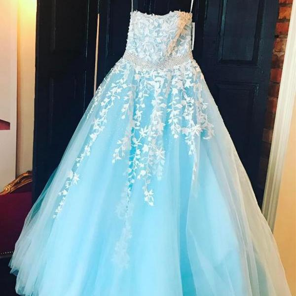 white lace embroidery prom dress,tulle ball gowns,strapless prom dress,wedding party dress,sky blue prom dress,prom gowns 2017