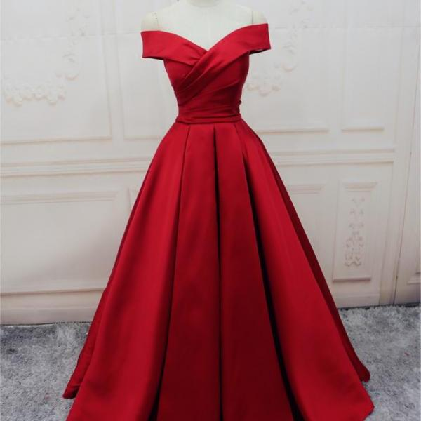 Red Satin Off-The-Shoulder Plunge V Floor Length Ball Gown Featuring Lace-Up Back, Prom Dress, Formal Dress