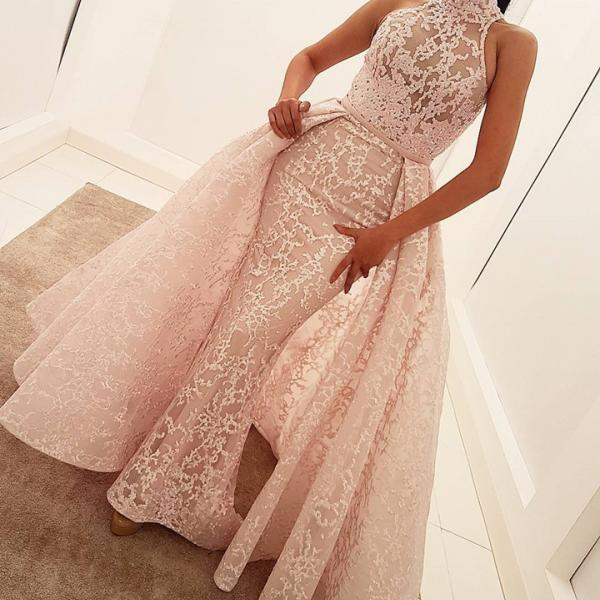 high neck prom dress,lace evening dress,mermaid evening gowns,elegant prom dress,removable skirt prom dress,pink evening gowns