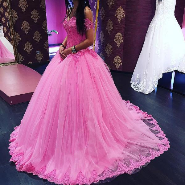 lace appliques ball gowns prom dress,elegant prom dress,elegant quinceanera dresses,pink wedding dresses