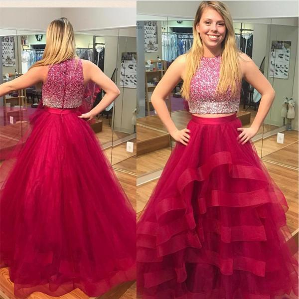 two piece prom dress,ball gowns prom dress,ombre prom dress,ruffles dress,beaded prom dress