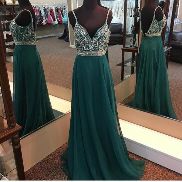 emerald green prom dress,long evening gowns,sexy prom dress, v neck prom dress