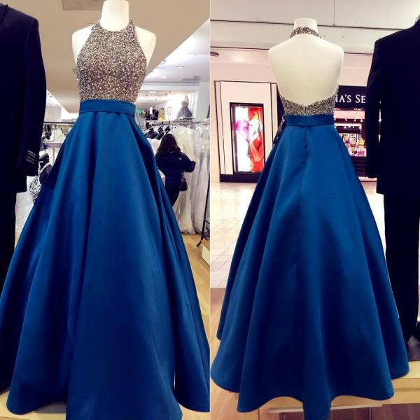 halter prom dress,beaded prom dress,royal blue evening dress,ball gowns prom dresses 2017
