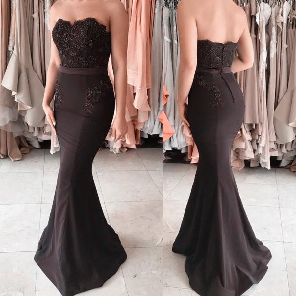 black bridesmaid dress,mermaid bridesmaid dress,long formal dress,sleeveless prom dress,mermaid evening gowns