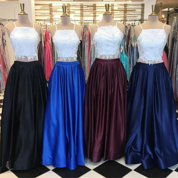 two piece prom dress,lace crop prom dress,elegant prom dress,satin gowns,prom dresses 2017