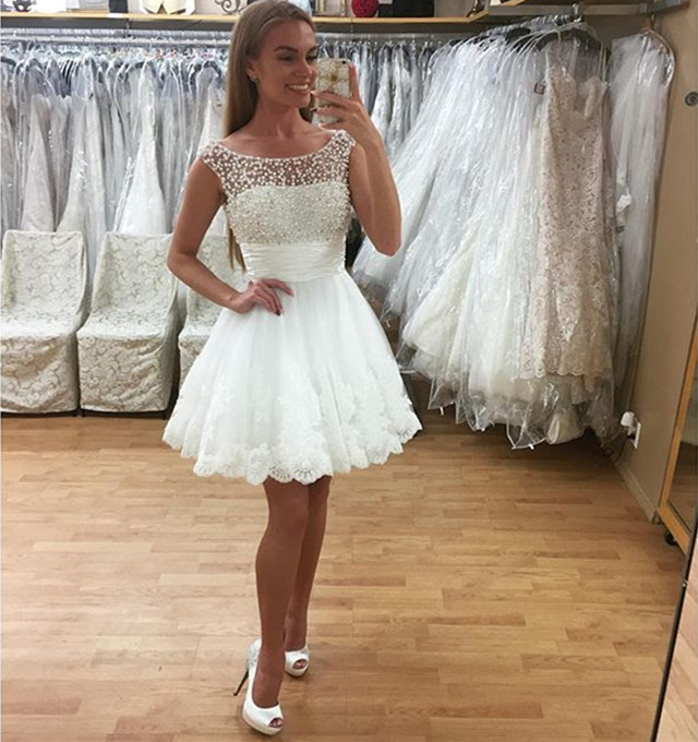 White Prom Dresseslace Homecoming Dress 2017 Short Prom Gownslace